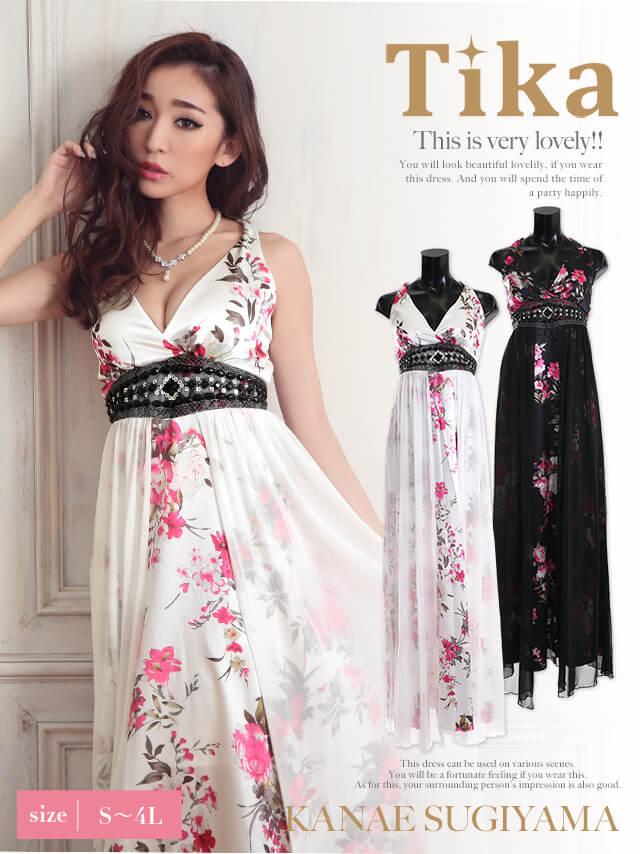 花柄シフォン重ねロングドレス