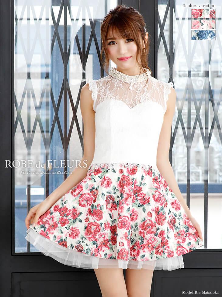 ローズ柄チュールスカートセットアップフレアミニドレス
