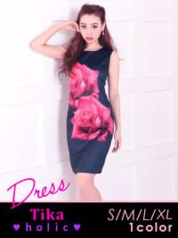 薔薇プリントタイトミニドレス