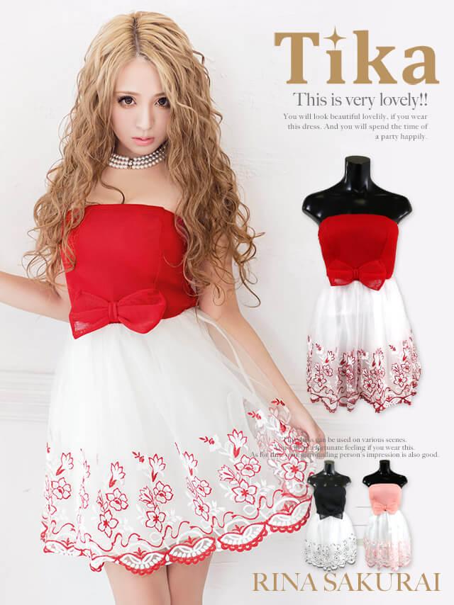 ビッグリボン花柄刺繍チュールミニドレス