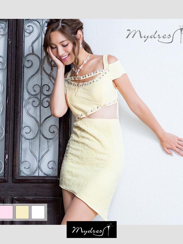 大人モードデザインカットタイトミニドレス