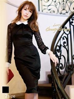 シアーレーススリーブ襟付きタイトひざ丈ドレス