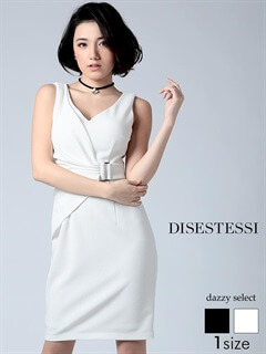 カシュクール風ベルトデザインノースリーブタイトミニドレス