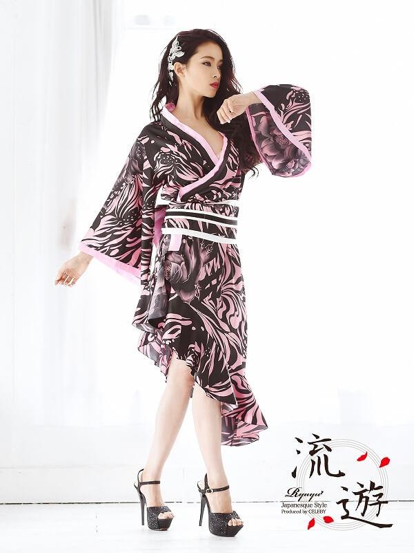 カスケードアシメ和柄着物ドレス