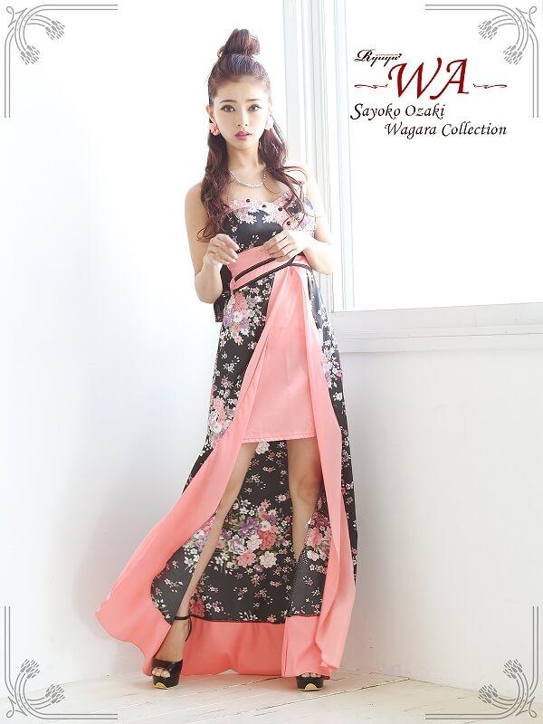 和柄サテン前ミニinロングドレス