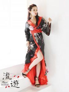 妖艶サテン華和柄ロングドレス