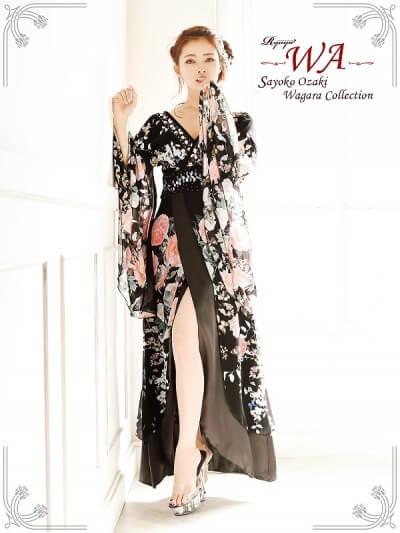 和柄シフォンロングドレス
