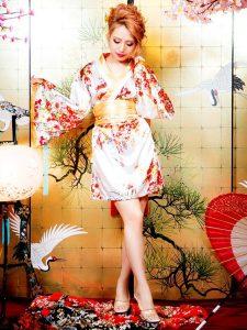 帯風リボン付き和柄着物風花魁ミニドレス