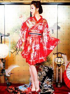 裾フリル和柄着物風ミニドレス