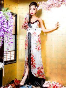 リボン付きワンショルダー和柄着物風ロングドレス