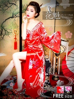 バックリボン付きワンショル和柄着物風ロングドレス