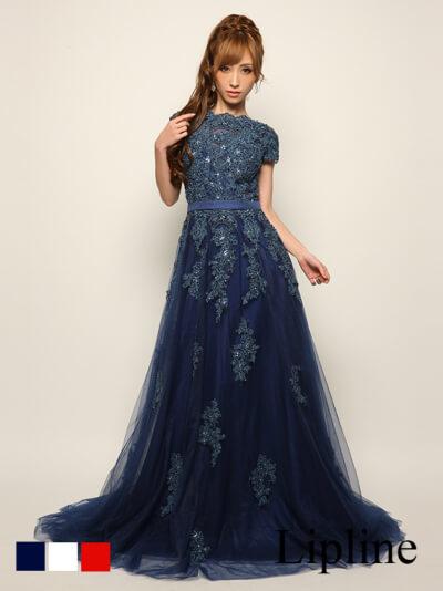 ゴージャス刺繍レースロングドレス