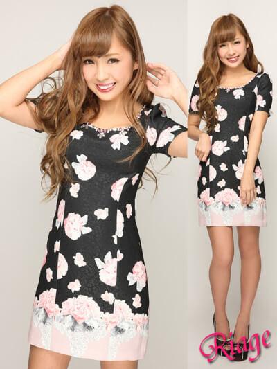 バラ柄×ジャガード袖付きタイトミニワンピース