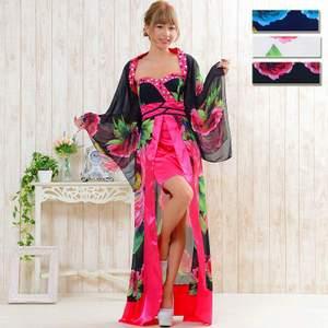 セクシーロング着物ドレス