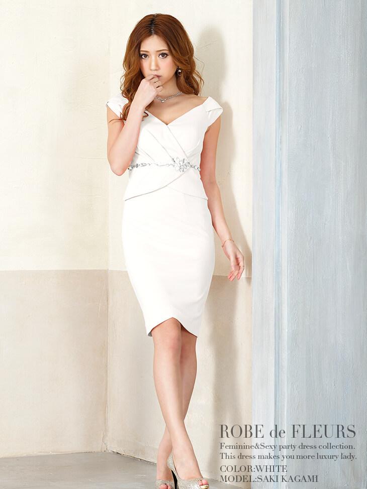 ウエストビジューミディアムスカートセットアップタイトドレス