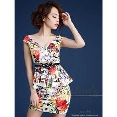 スナック 服装 オフショルペプラムタイトミニドレス