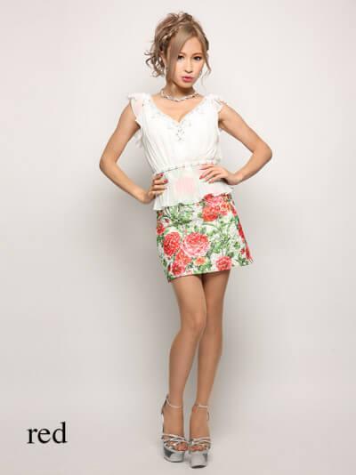 シースルーフラワー刺繍シフォンプリーツペプラムタイトミニドレス
