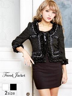 デコラティブデザイン七分袖ツイードジャケット