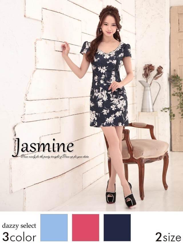 ジャガード織り水彩フラワータイトミニドレス