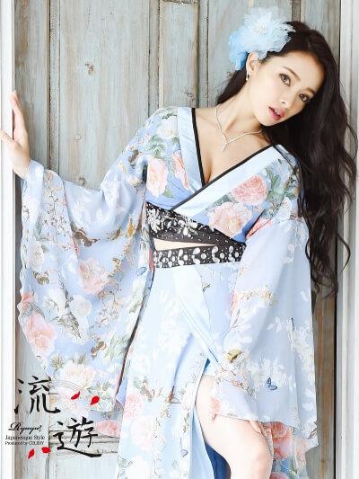 振袖シフォン2p着物ロングドレス